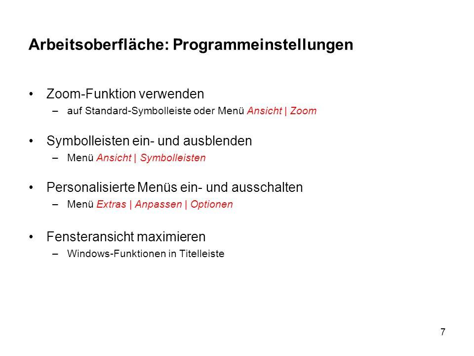 Arbeitsoberfläche: Programmeinstellungen