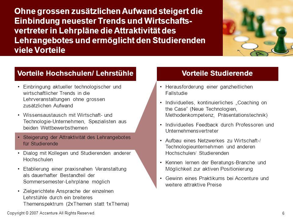 Vorteile Hochschulen/ Lehrstühle