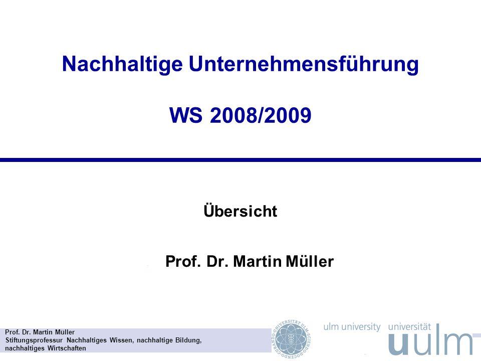 Nachhaltige Unternehmensführung WS 2008/2009