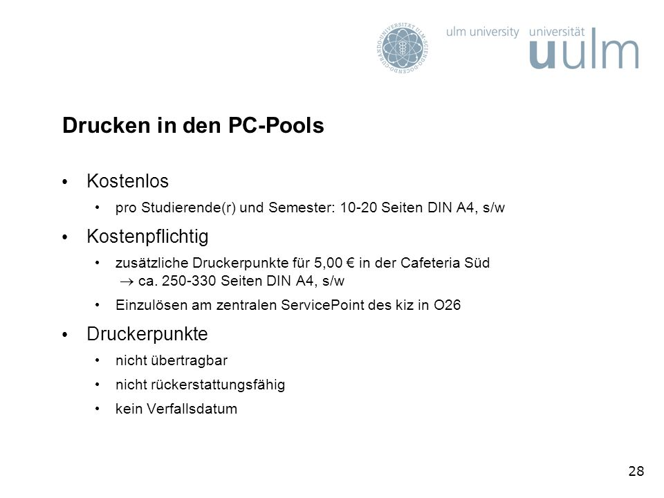 Drucken in den PC-Pools