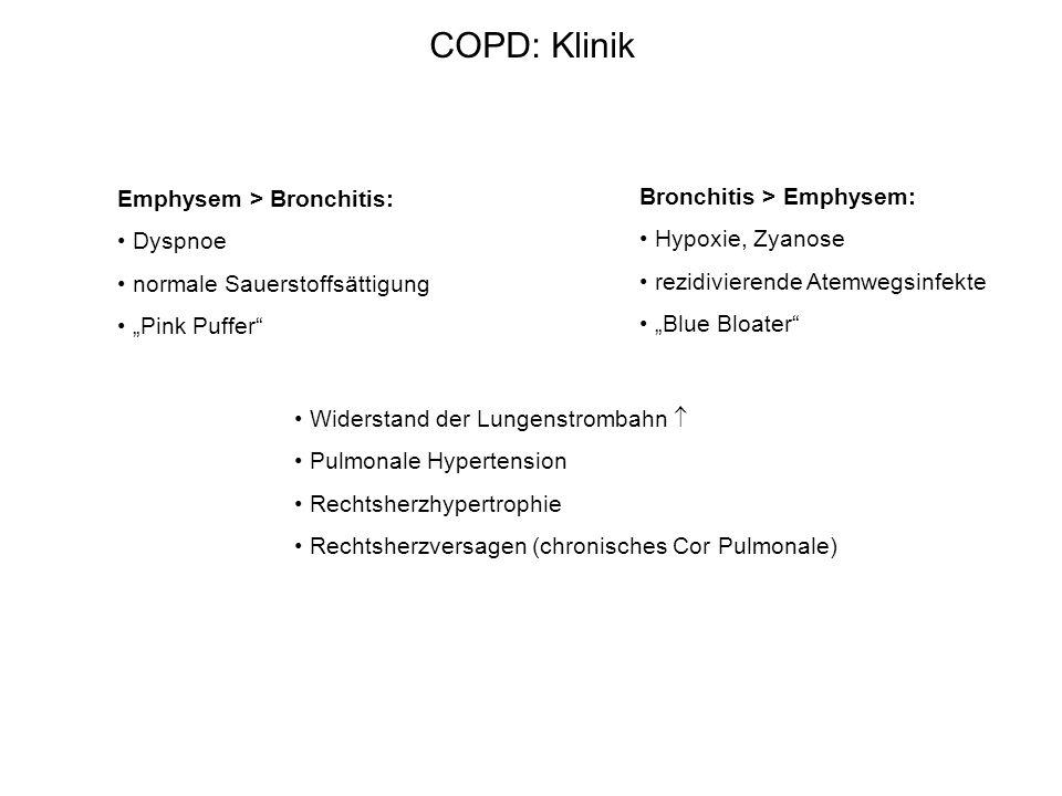 COPD: Klinik Emphysem > Bronchitis: Bronchitis > Emphysem:
