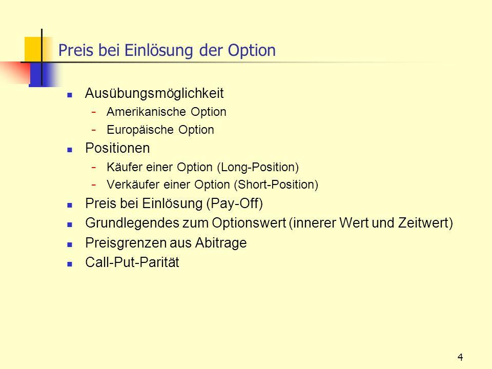 Preis bei Einlösung der Option