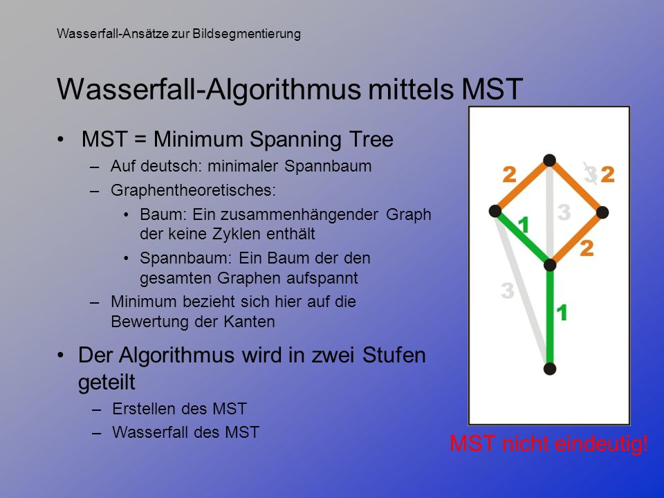 Wasserfall-Algorithmus mittels MST
