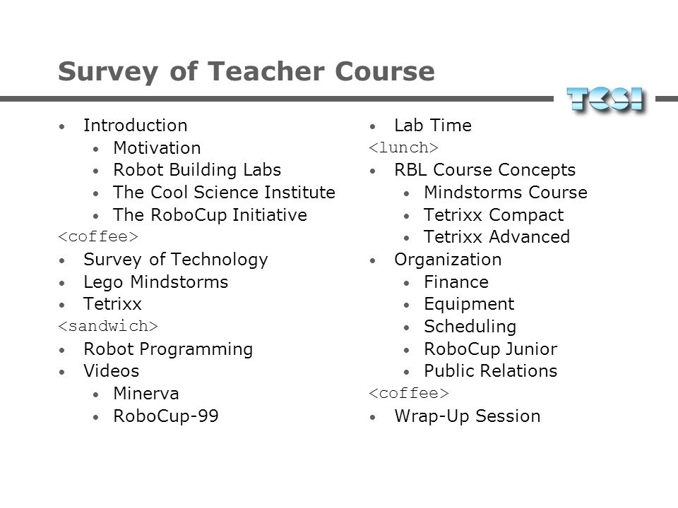 Survey of Teacher Course