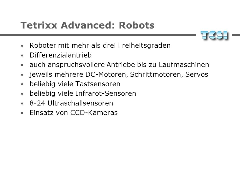 Tetrixx Advanced: Robots