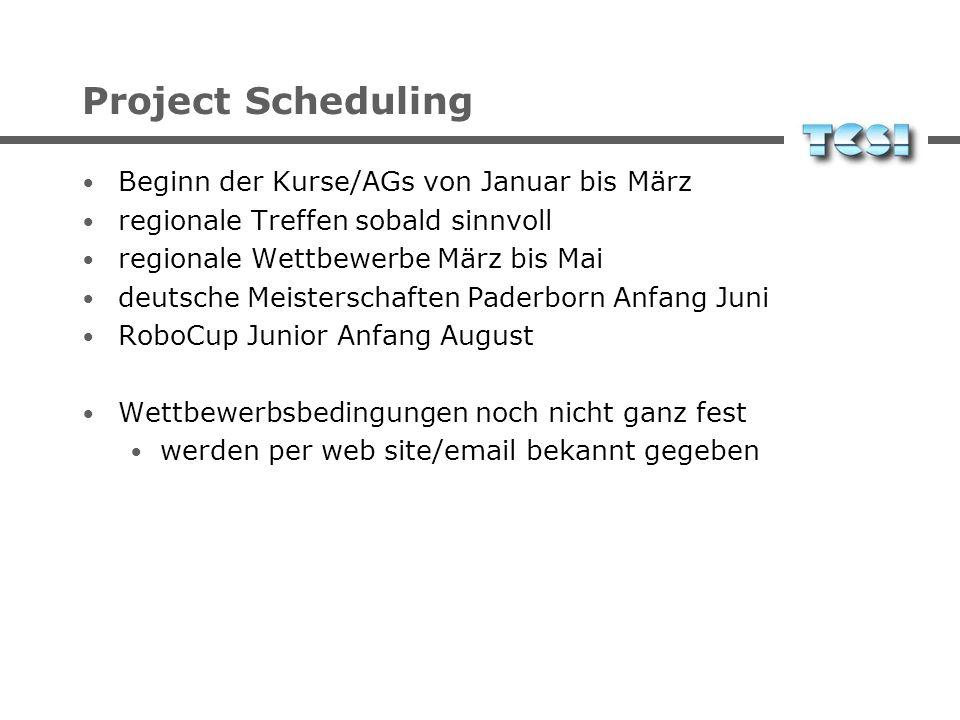 Project Scheduling Beginn der Kurse/AGs von Januar bis März