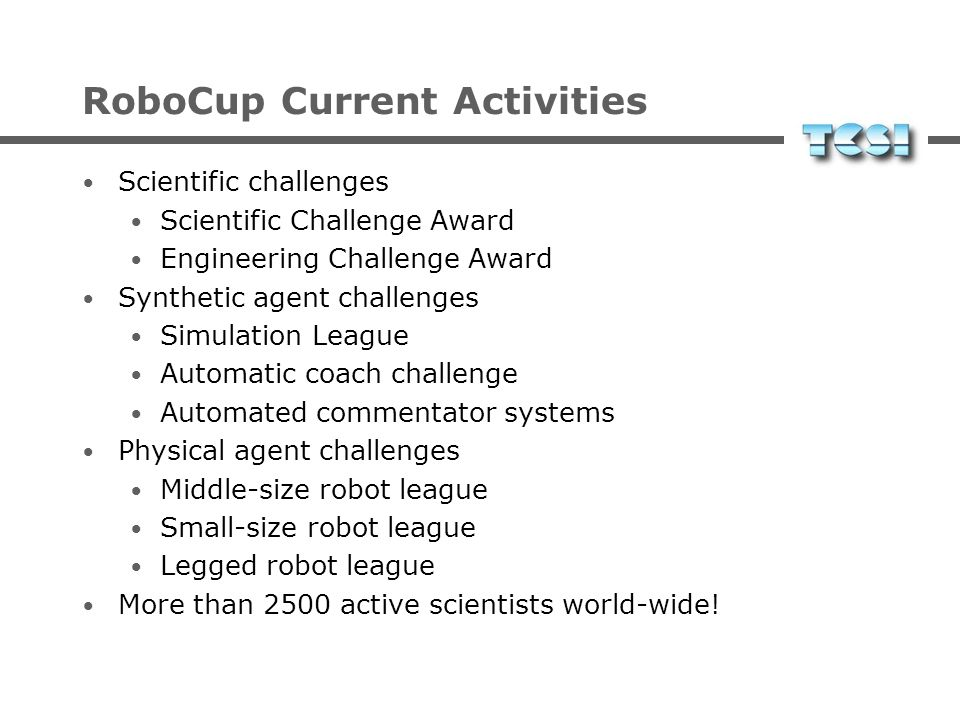 RoboCup Current Activities