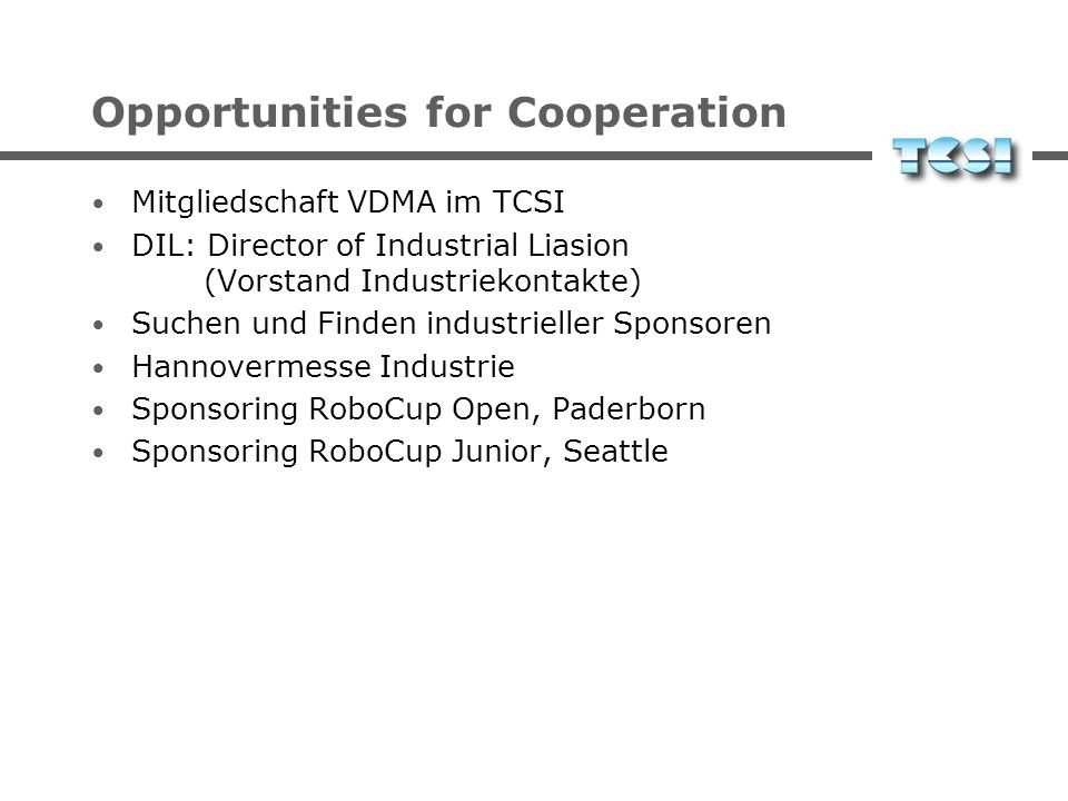 Opportunities for Cooperation
