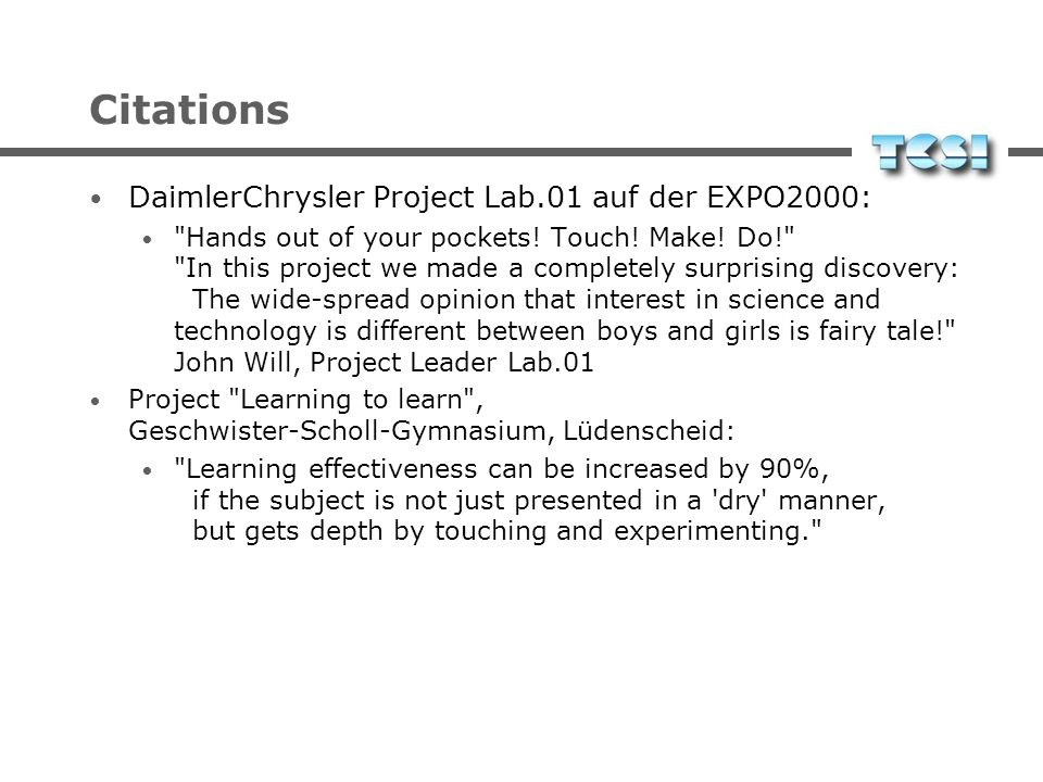 Citations DaimlerChrysler Project Lab.01 auf der EXPO2000: