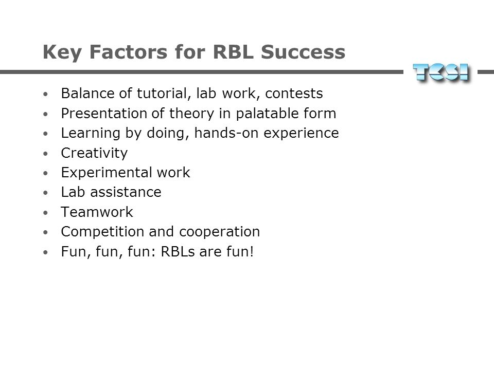 Key Factors for RBL Success