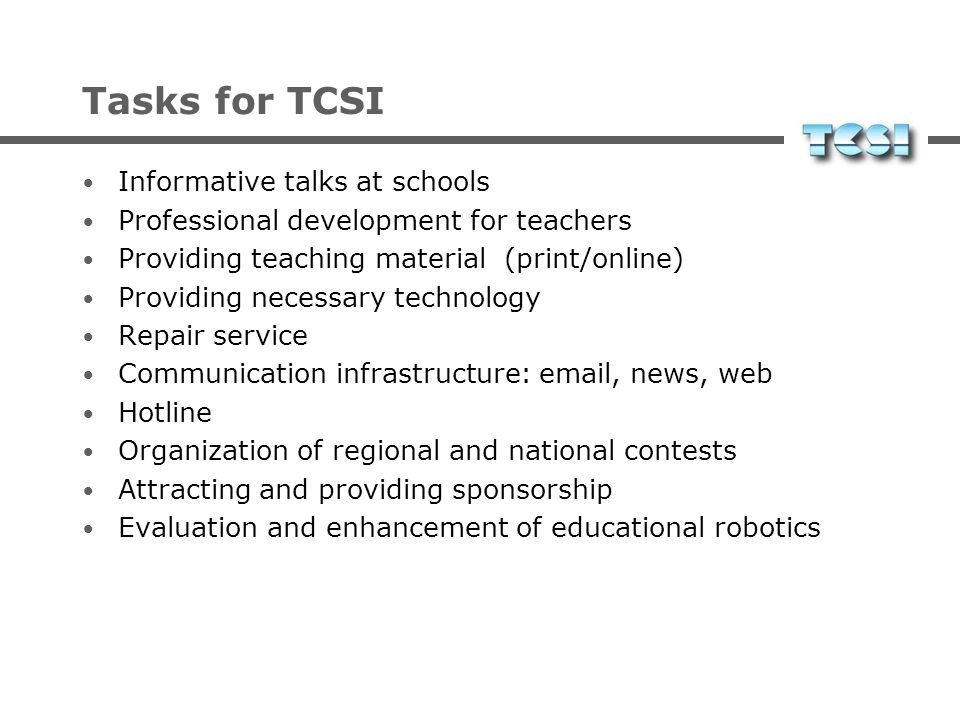 Tasks for TCSI Informative talks at schools