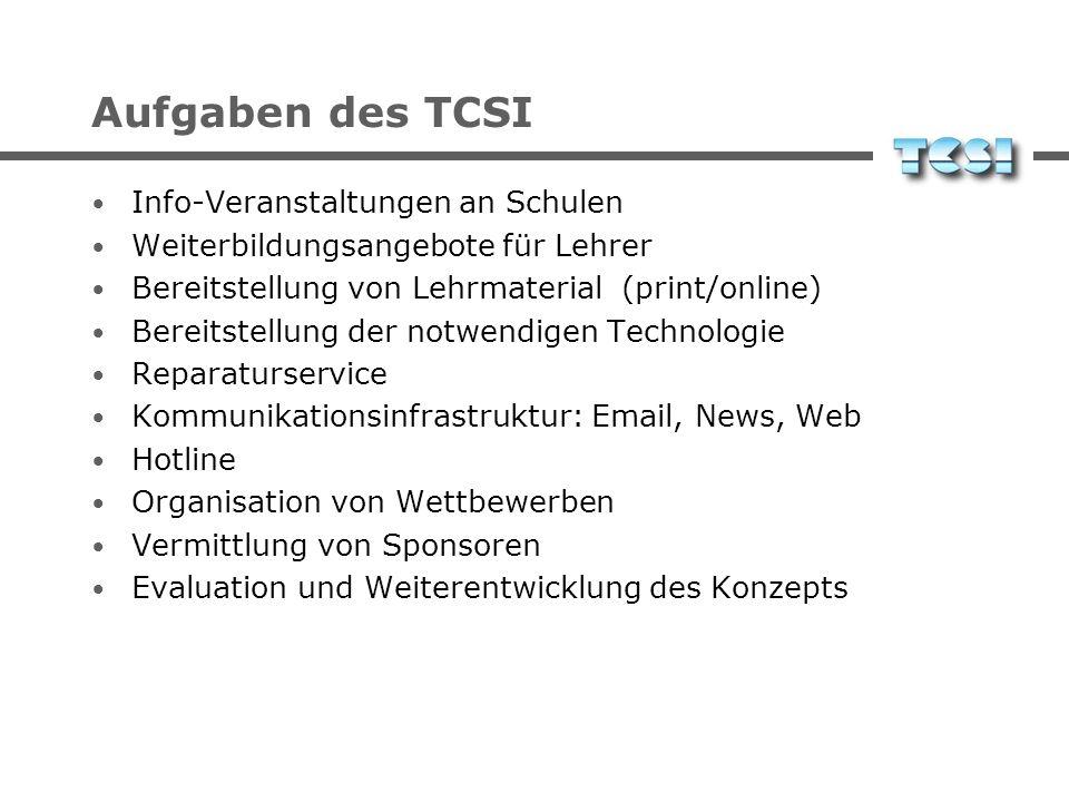 Aufgaben des TCSI Info-Veranstaltungen an Schulen