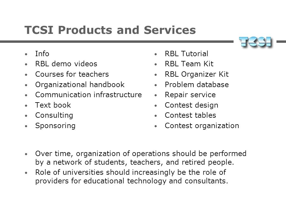 TCSI Products and Services