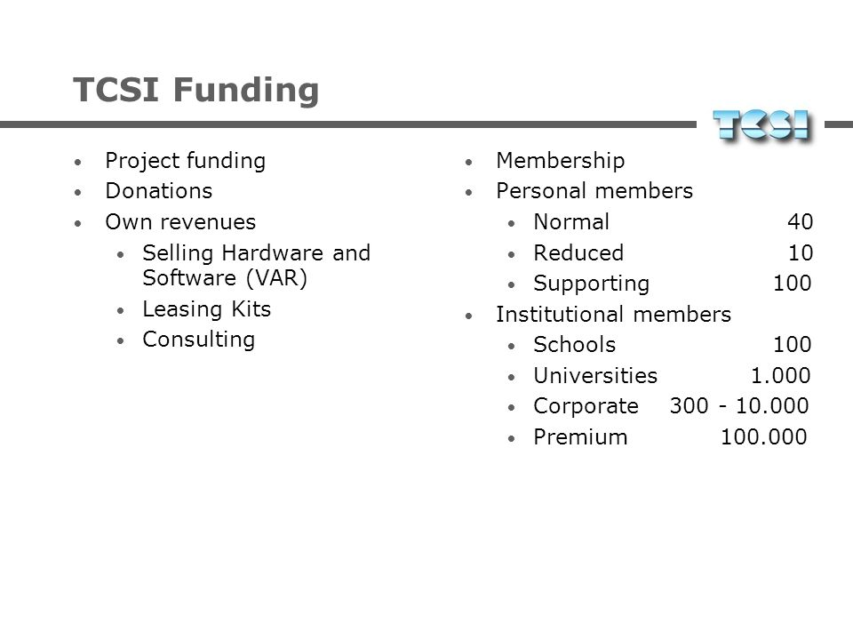 TCSI Funding Project funding Donations Own revenues