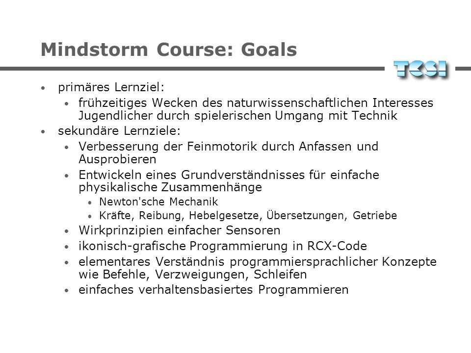 Mindstorm Course: Goals
