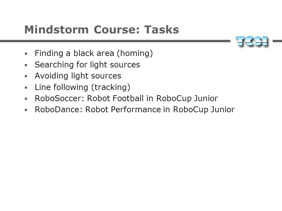 Mindstorm Course: Tasks