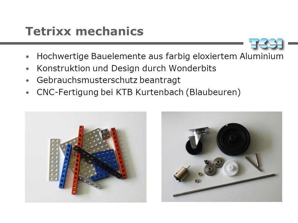 Tetrixx mechanics Hochwertige Bauelemente aus farbig eloxiertem Aluminium. Konstruktion und Design durch Wonderbits.
