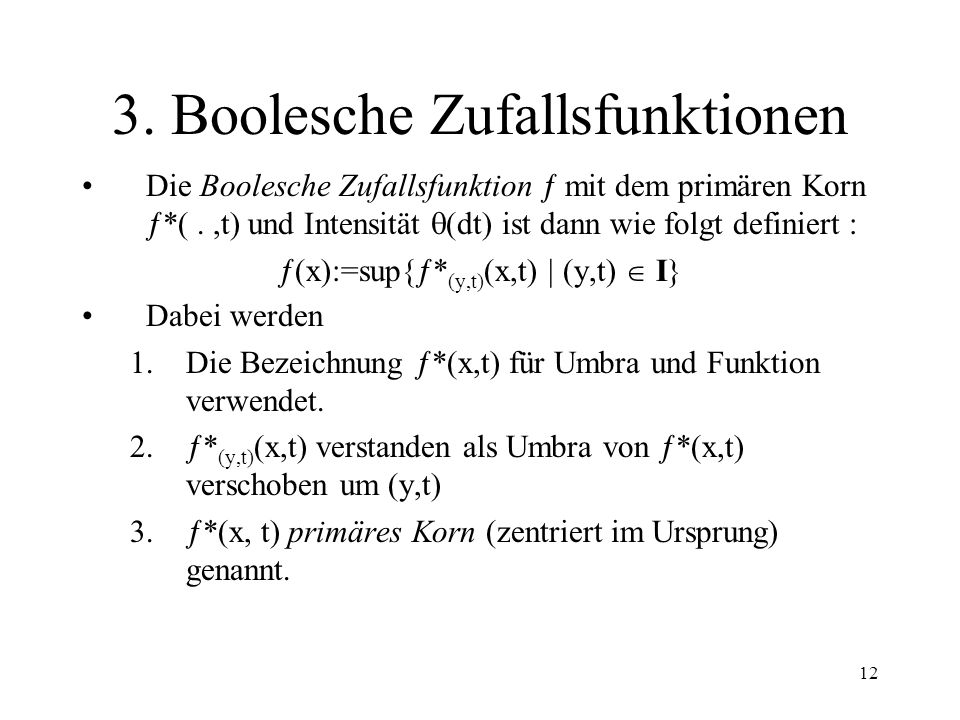 3. Boolesche Zufallsfunktionen