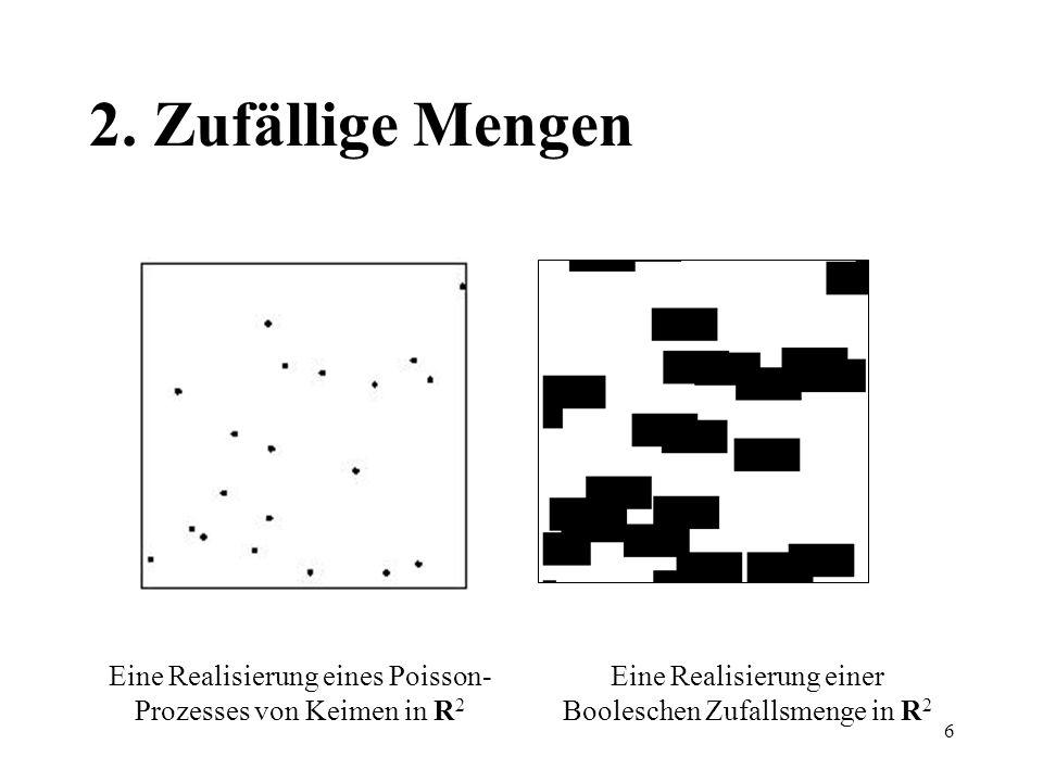2. Zufällige Mengen Eine Realisierung eines Poisson-Prozesses von Keimen in R2.