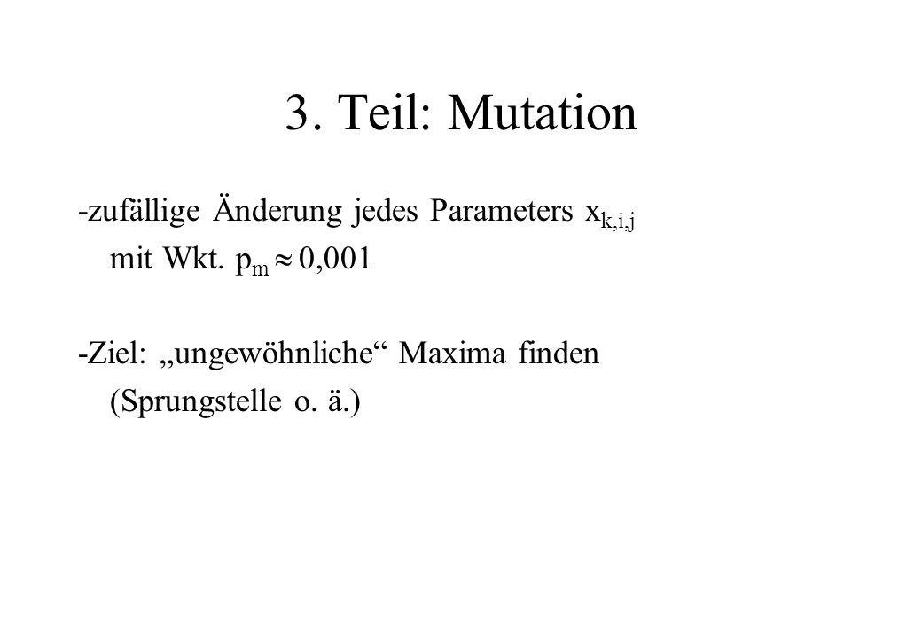 3. Teil: Mutation -zufällige Änderung jedes Parameters xk,i,j