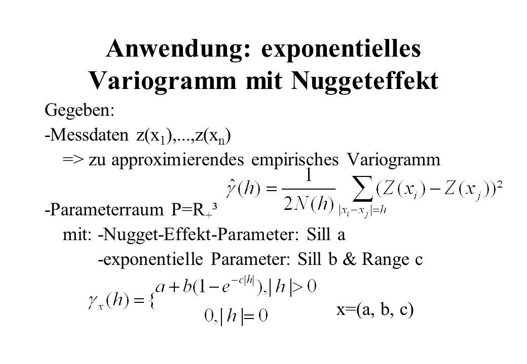 Anwendung: exponentielles Variogramm mit Nuggeteffekt