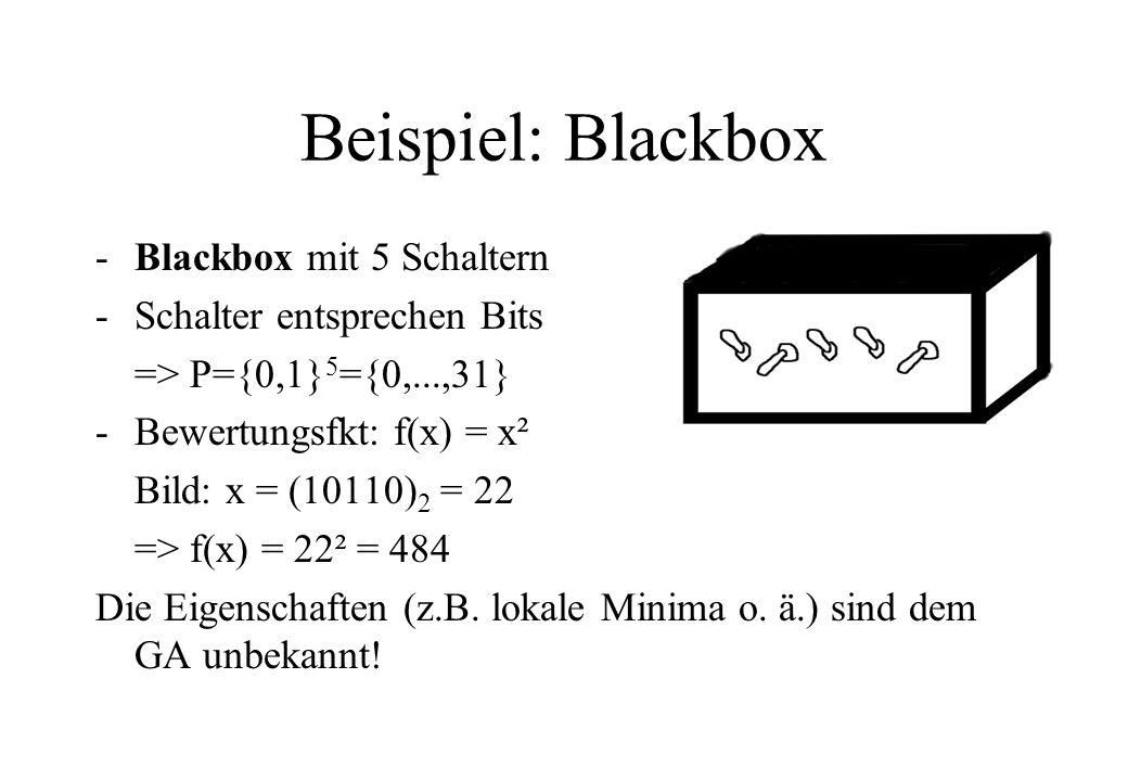 Beispiel: Blackbox Blackbox mit 5 Schaltern Schalter entsprechen Bits