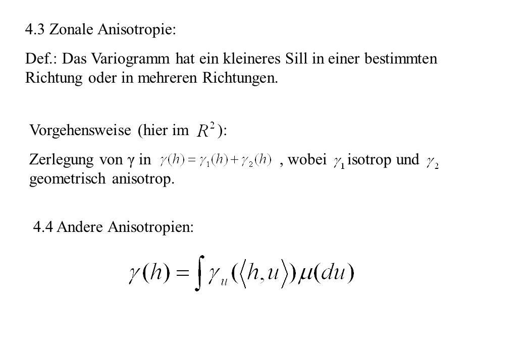 4.3 Zonale Anisotropie:Def.: Das Variogramm hat ein kleineres Sill in einer bestimmten Richtung oder in mehreren Richtungen.