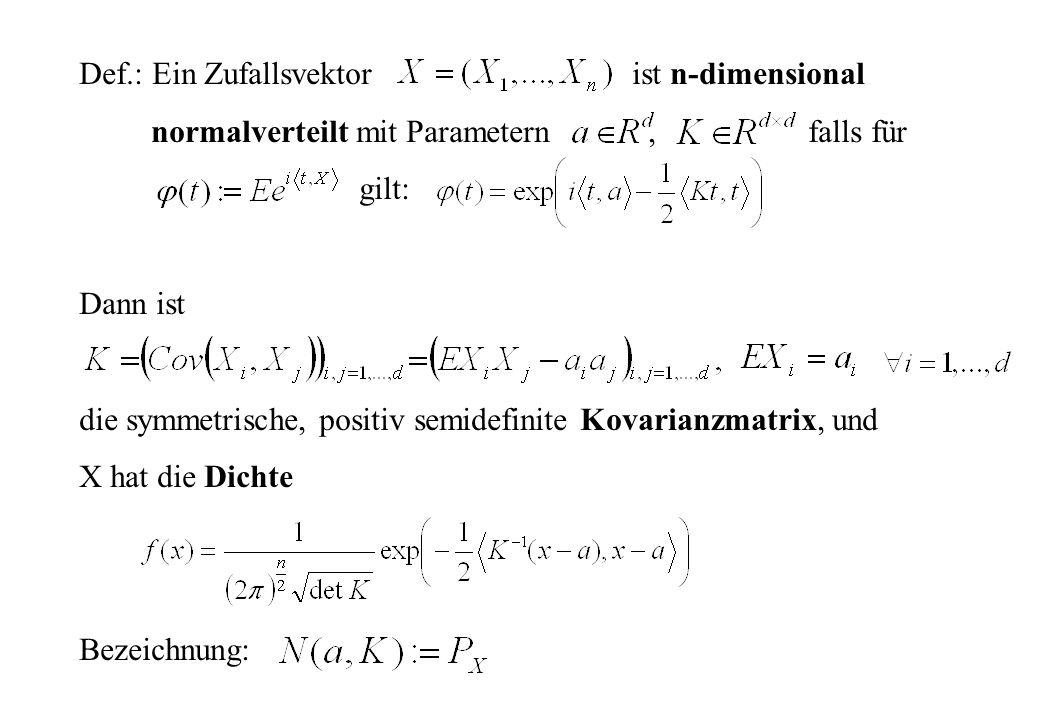 Def.: Ein Zufallsvektor ist n-dimensional