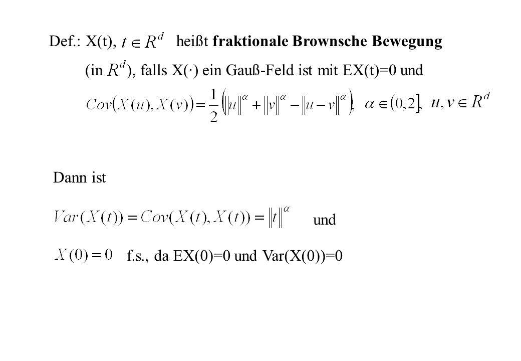 Def.: X(t), heißt fraktionale Brownsche Bewegung