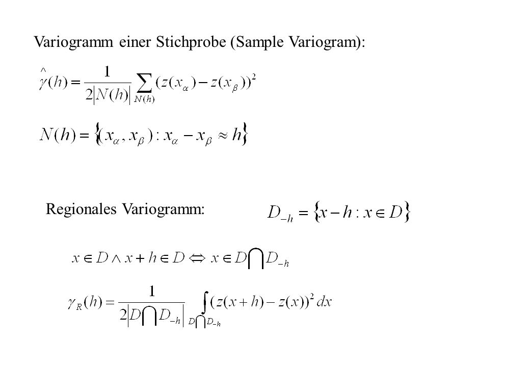 Variogramm einer Stichprobe (Sample Variogram):