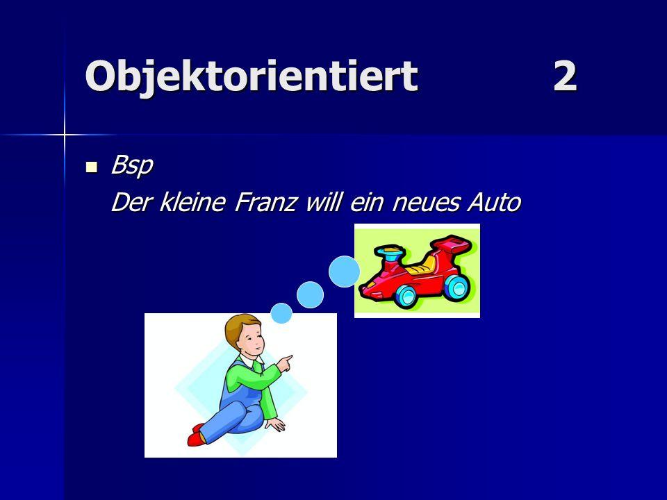 Objektorientiert 2 Bsp Der kleine Franz will ein neues Auto
