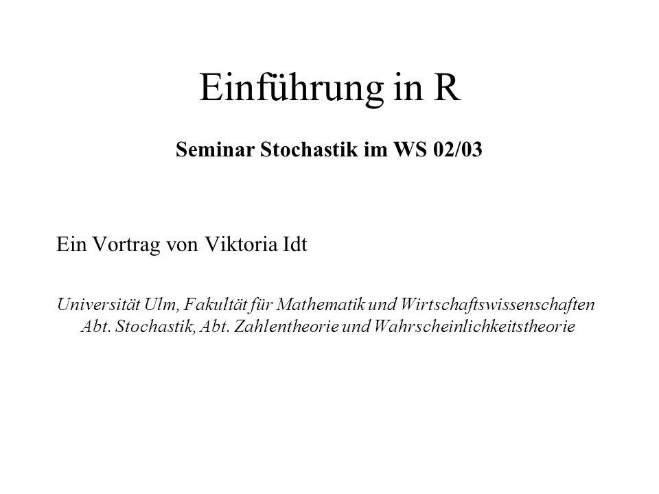 Seminar Stochastik im WS 02/03
