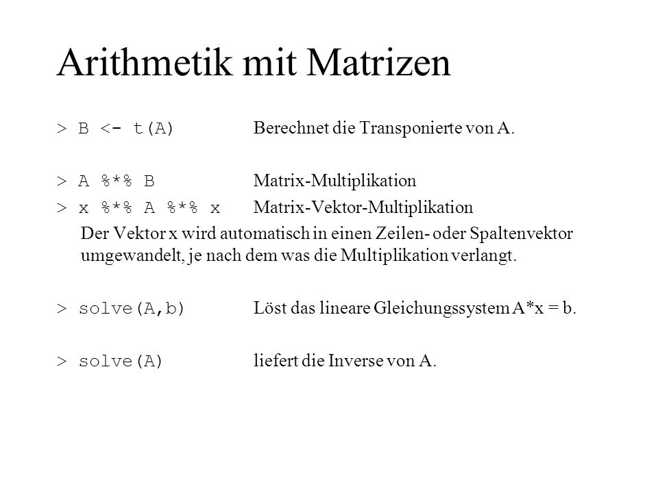 Arithmetik mit Matrizen
