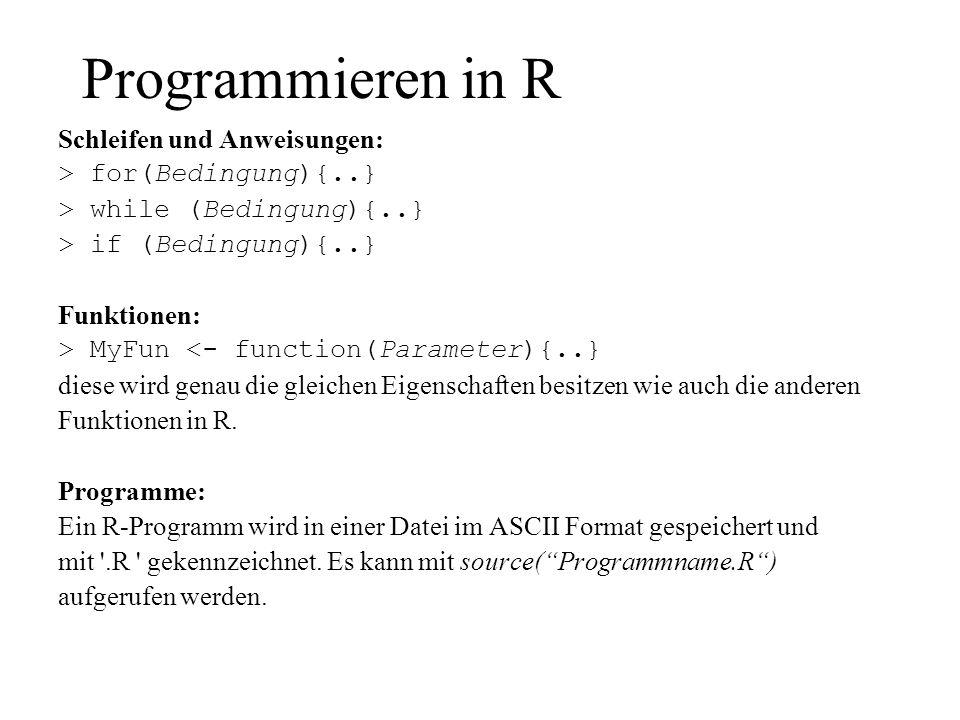 Programmieren in R Schleifen und Anweisungen: > for(Bedingung){..}