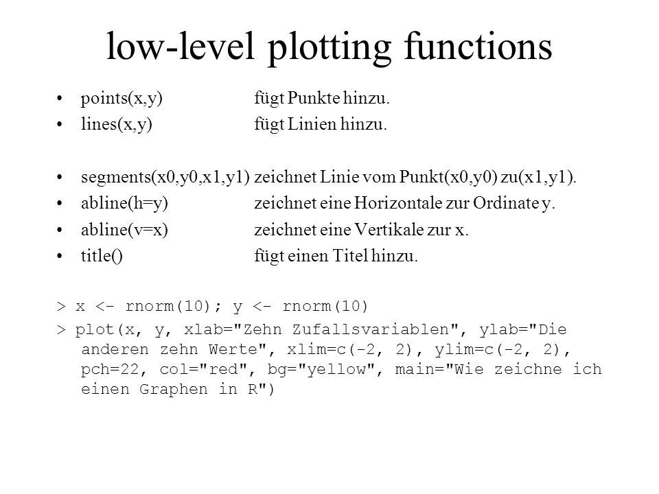 low-level plotting functions