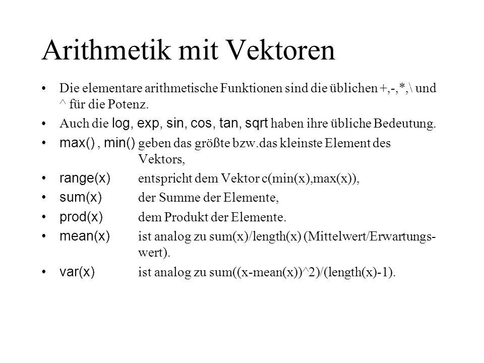 Arithmetik mit Vektoren