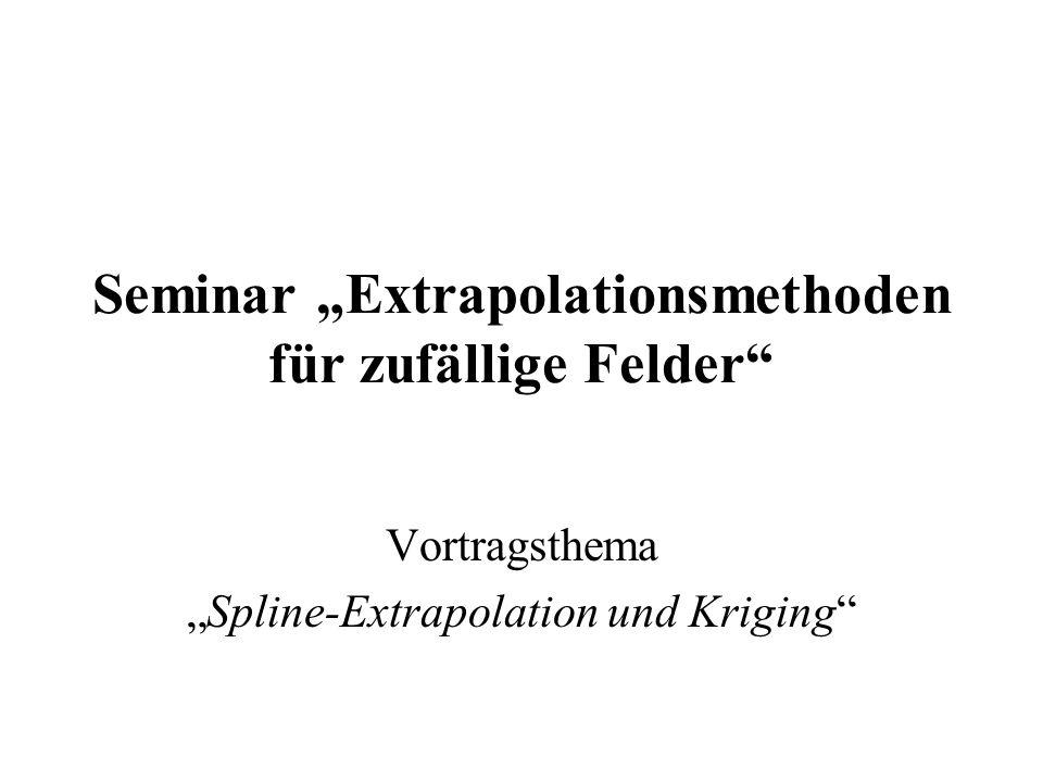 """Seminar """"Extrapolationsmethoden für zufällige Felder"""