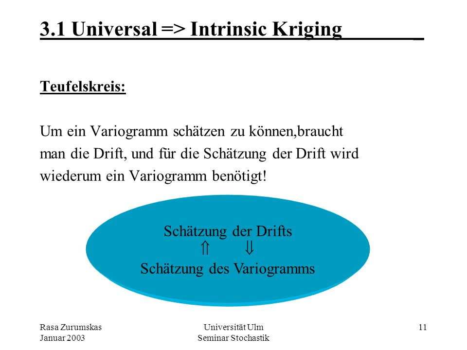 3.1 Universal => Intrinsic Kriging _