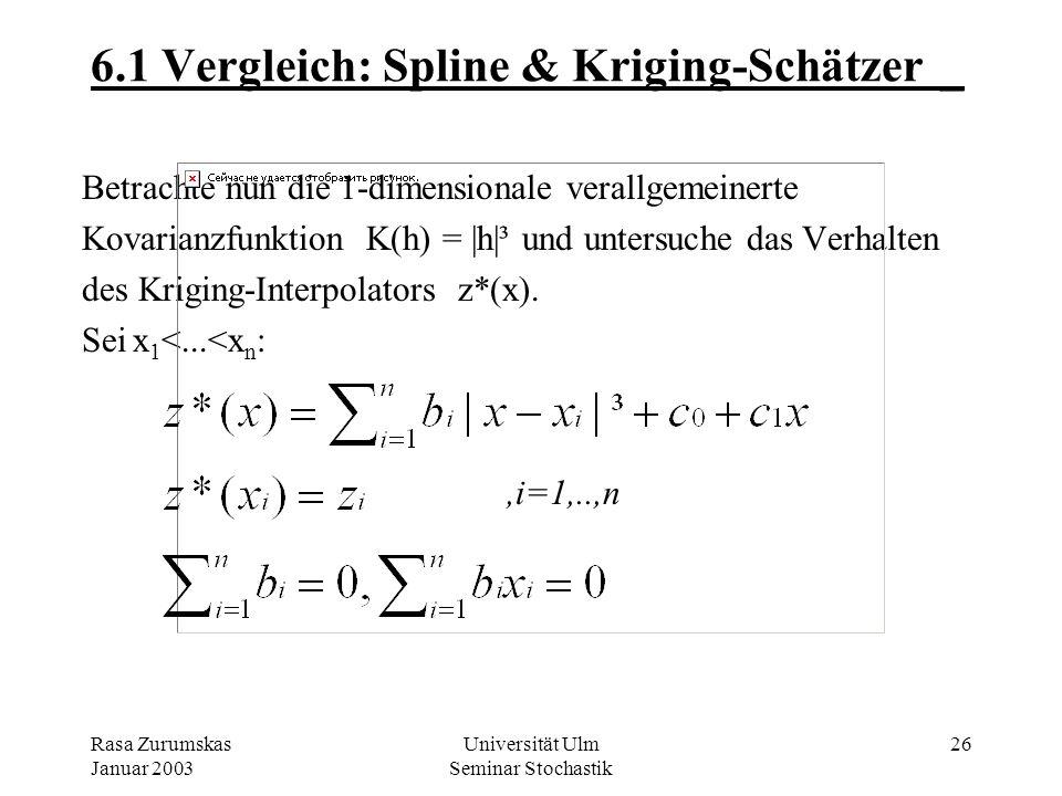 6.1 Vergleich: Spline & Kriging-Schätzer _