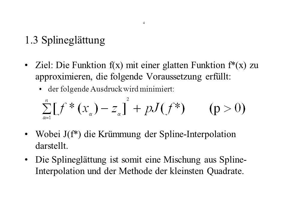 4 1.3 Splineglättung. Ziel: Die Funktion f(x) mit einer glatten Funktion f*(x) zu approximieren, die folgende Voraussetzung erfüllt: