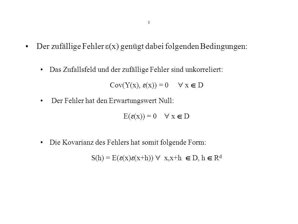 S(h) = E((x)(x+h))  x,x+h  D, h  Rd