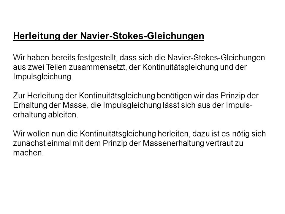 Herleitung der Navier-Stokes-Gleichungen