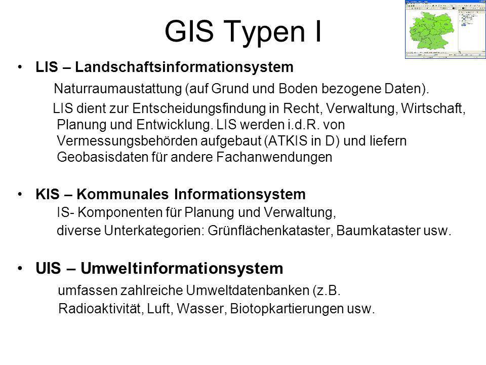 GIS Typen I UIS – Umweltinformationsystem