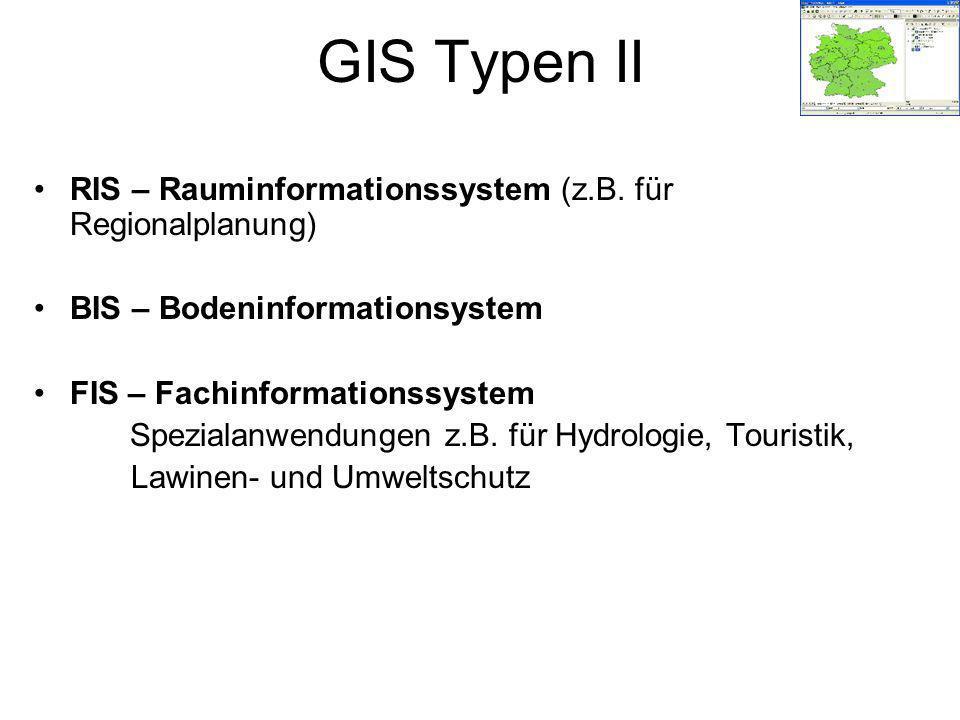 GIS Typen II RIS – Rauminformationssystem (z.B. für Regionalplanung)