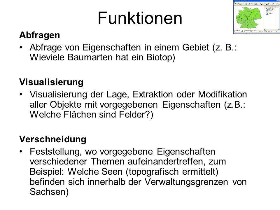 Funktionen Abfragen. Abfrage von Eigenschaften in einem Gebiet (z. B.: Wieviele Baumarten hat ein Biotop)