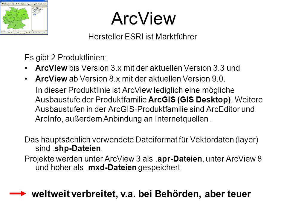 ArcView weltweit verbreitet, v.a. bei Behörden, aber teuer
