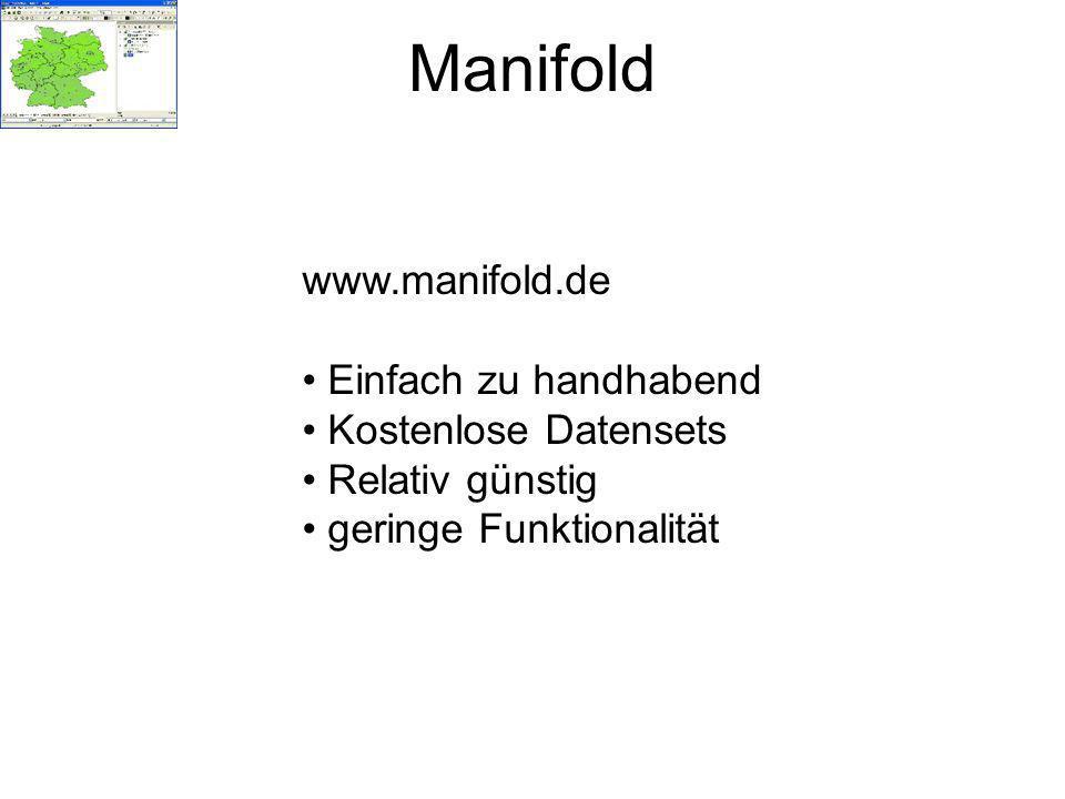 Manifold www.manifold.de Einfach zu handhabend Kostenlose Datensets
