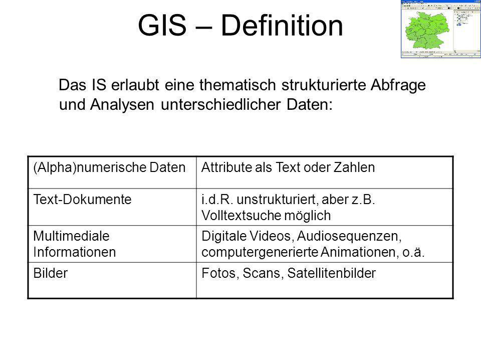 GIS – Definition Das IS erlaubt eine thematisch strukturierte Abfrage und Analysen unterschiedlicher Daten: