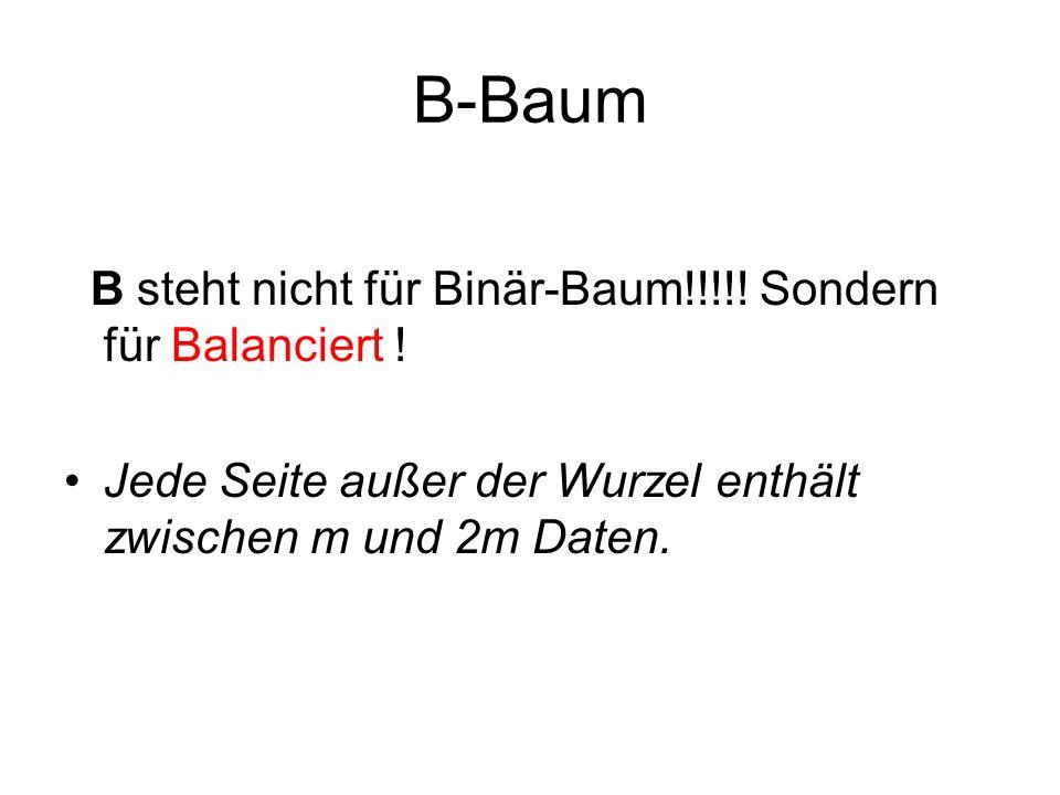 B-Baum B steht nicht für Binär-Baum!!!!! Sondern für Balanciert !