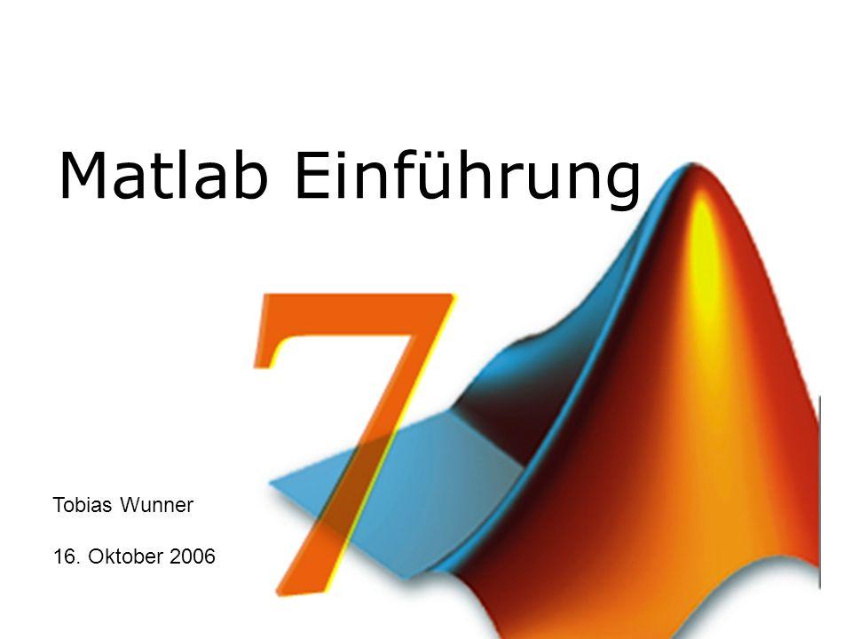 Matlab Einführung Tobias Wunner 16. Oktober 2006